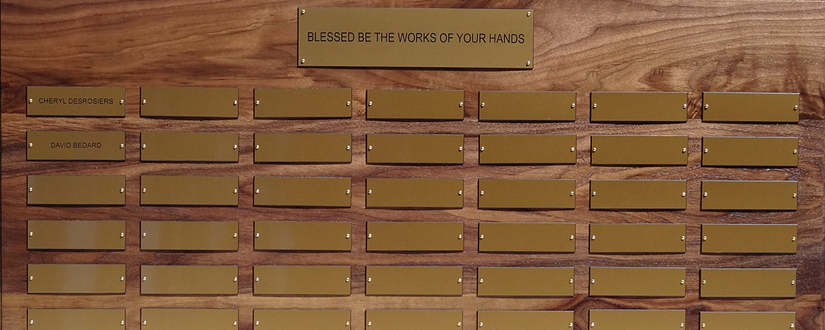 2 foot x 3 foot 7&quot; custom solid walnut perpetual plaque with 49 gold plastic plates &amp; beveled edges. Board finished by <a href='http://www.mjfwoodworking.com' target='new'>MJF Woodworking</a>.