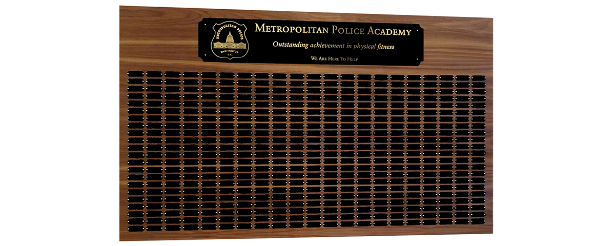 3 Foot x 5 foot custom walnut perpetual plaque with 462 black brass plates. Board finished by MJF Woodworking.