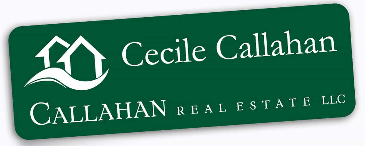 1 in. x 3 in. Pine green/white plastic name tag with rounded corners, laser engraved logo & name with pin backing.