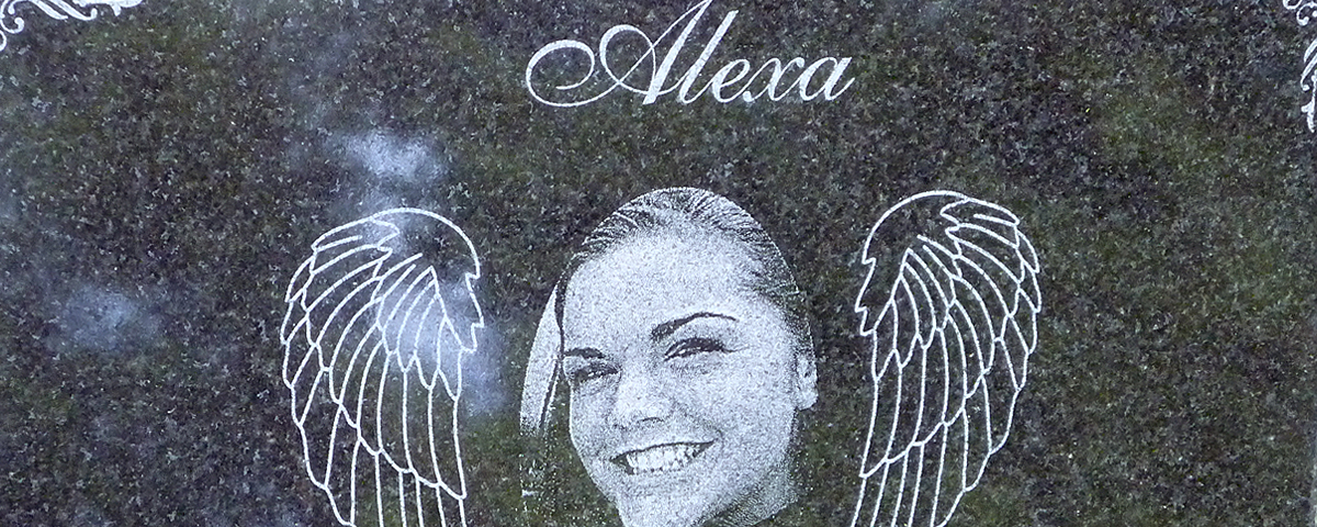 Laser engraved granite memorial. Granite measures 12 in. x 8 in. and is 1 in. thick.