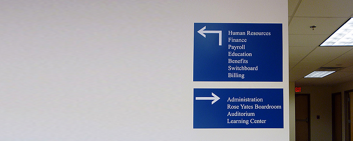 Laser engraved sapphire/white directory signs. Top sign measures 12 in. x 18 in. Bottom sign measures 8 in. x 18 in.
